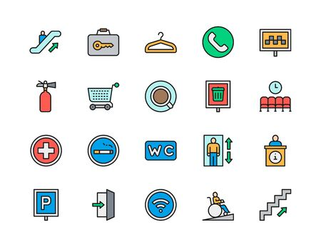 Set of Public Navigation Color Line Icons. Hanger, Taxi, Toilet, Wifi and more.