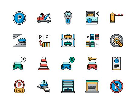 Set of Car Parking Flat Color Icons. Truck, Parking Meter, Traffic Cone and more