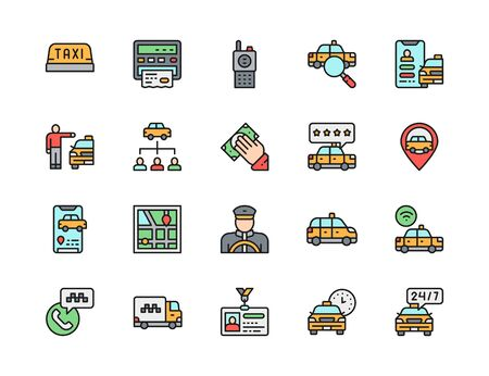 Set of Taxi Flat Color Line Icons. Truck, Map Navigation, Carsharing and more.