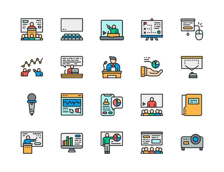 Set of Presentation Flat Color Line Icons. Hall, Microphone, Seminar and more.