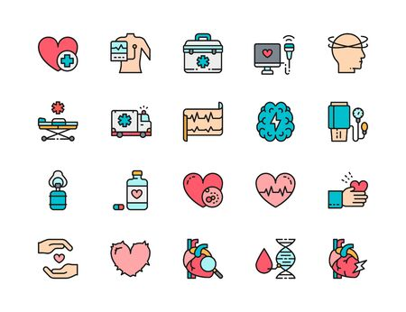 Set of Heart Attack Flat Color Icons. Cardiogram, Dizziness, Heartbeat and more. Ilustracja