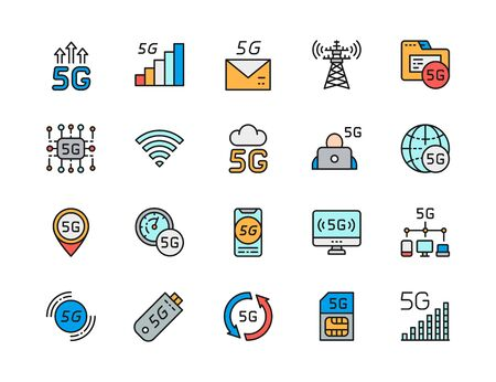 Set of 5G Internet Flat Color Line Icons. Network Signal, Fast Message Service, Telecommunications Tower, Database, Wireless Chip, Cloud System, Internet Modem, Sim Card and more.