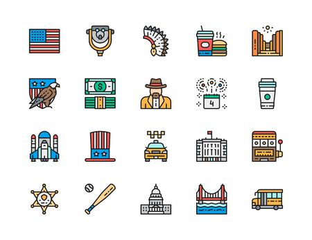 Set of American Culture Flat Color Line Icons. Bald Eagle, Dollars, Cowboys, School Bus, Fast Food, Sheriff Star Badge, Space Shuttle, Uncle Sam Hat, Casino, Baseball Bat and more. Illustration