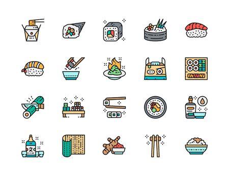 Set of Japanese Food and Sushi Flat Color Line Icons. Philadelphia Roll, Ginger, Temaki, Nigiri, Wasabi, Takeaway Box, Soy Sauce, Sake, Bamboo Mat, Chopsticks and more. Pack of 48x48 Pixel Icons