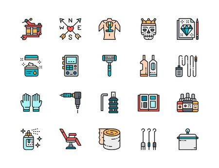 Set of Tattoo Studio Flat Color Line Icons. Tattoo Machine, Power Machine Supply, Disposable Razor, Rubber Gloves, Ink Bottles, Chair, Aftercare Bandage and more. Pack of 48x48 Pixel Icons Illustration