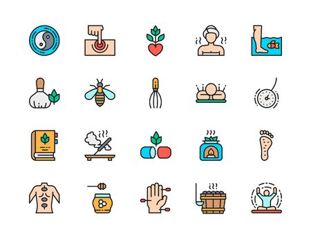 Set of Alternative Medicine Flat Color Line Icons. Bathhouse, Herbal Medicine, Acupuncture, Aromatherapy, Meditation, Yoga and more. Pack of 48x48 Pixel Icons Illustration