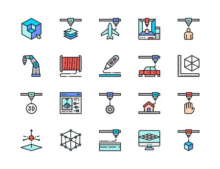 Set of 3D Printing Flat Color Line Icons. 3d Modeling, Industrial Printer, 3 Dimensional Model, Plastic Thread Reels and more. Pack of 48x48 Pixel Icons