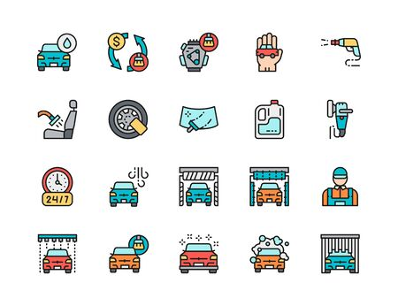 Set of Car Wash Flat Color Line Icons. Auto Washing, High Pressure Wash Spray Gun, Interior Cleaning, Wheel Lock, Windshield, Polishing Machine and more. Pack of 48x48 Pixel Icons Illustration