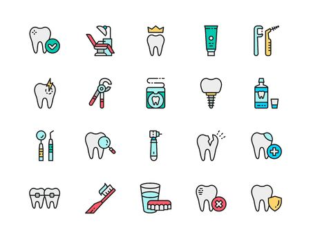Set of Dentistry Flat Color Line Icons. Denture, Dentist Chair, Dental Crown, Toothpaste, Tooth, Implant, Mouthwash, Tooth Instrument, Toothbrush and more. Pack of 48x48 Pixel Icons