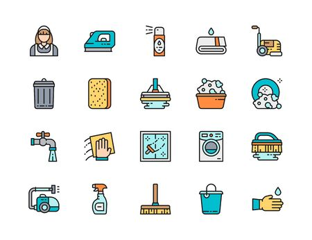 Set of Cleaning Flat Color Line Icons. Housewife, Iron, Air Freshener, Towel, Vacuum Cleaner, Trash Can, Sponge, Mop, Bucket and more.