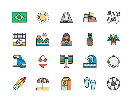 Set of Brazilian Culture Flat Color Line Icons. City Favelas, Tropical Fruits, Carnival Clothes, Beach Landscape, Toucan, Sun, Soccer and more. Pack of 48x48 Pixel Icons