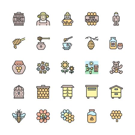 Set of Honey Flat Color Line Icons. Beekeeper, Apiary, Beehive and more.