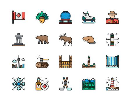 Set of Canadian Culture Color Line Icons. Sports Equipment, Police, Elk and more Illustration