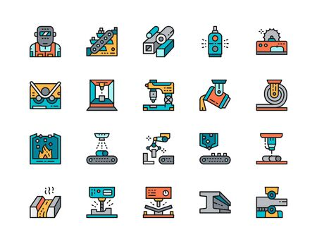 Set of Metallurgy Industry Color Line Icons. Conveyor, Metallurgist and more. Illustration