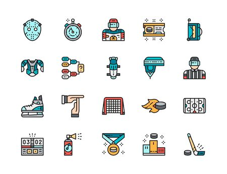 Set of Hockey Color Line Icons. Puck, Stopwatch, Goalkeeper, Ticket and more.