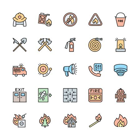 Set of Firefighter Color Line Icons. Fireman, Evacuation Plan, Hydrant and more.