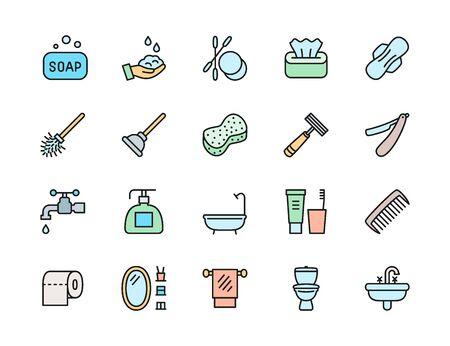 Set of Hygiene Flat Color Line Icons. Bathtub, Tampon, Toilet Plunger and more Illustration