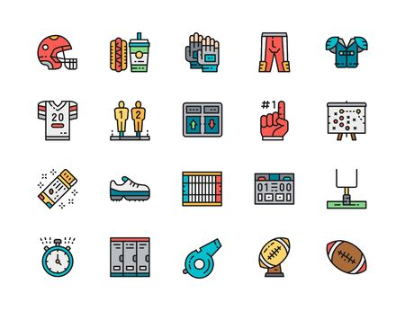 Set of American Football Color Line Icons. Uniform, Helmet, Stopwatch and more.