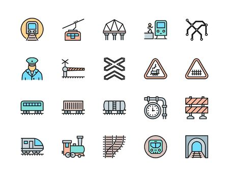Set of Railways Flat Color Line Icons. Funicular, Subway, Locomotive and more