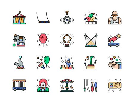 Set of Circus Color Line Icons. Clown, Jester Hat, Elephant, Juggler and more. Illustration