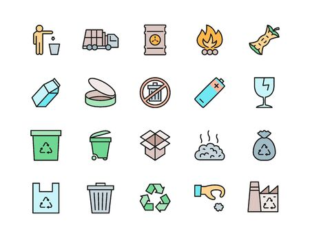 Set of Garbage Color Line Icons. Waste Factory, Trash Truck, Container and more.