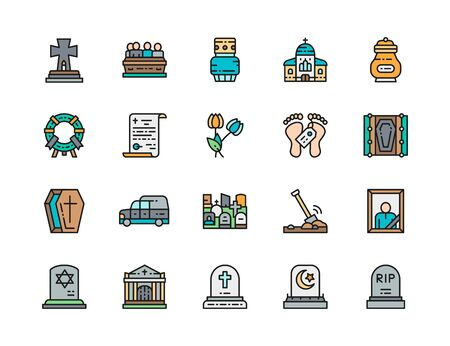 Set of Funeral Color Line Icons. Church, Crypt, Tomb House, Coffin and more. Illustration