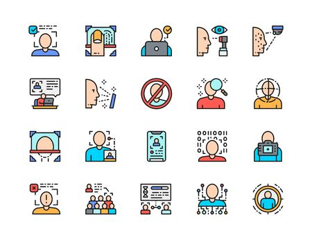 Set of Face Detection Color Line Icons. Id Verification, Fingerprint and more.