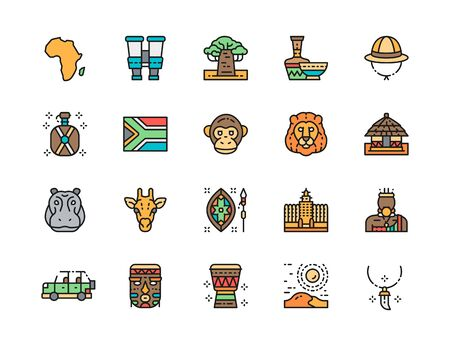 Set of Africa Flat Color Line Icons. Tooth Pendant, Binoculars, Animals and more