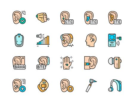 Set of Hearing Aid Color Icons. Ear Canal, Volume Control, Headphones and more. Illustration