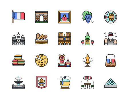 Set of French Culture Flat Color Line Icons. Alcohol, Mime, Macarons and more.