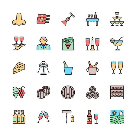 Set of Wine Color Line Icons. Alcohol, Cocktail, Corkscrew, Waiter and more. Illustration