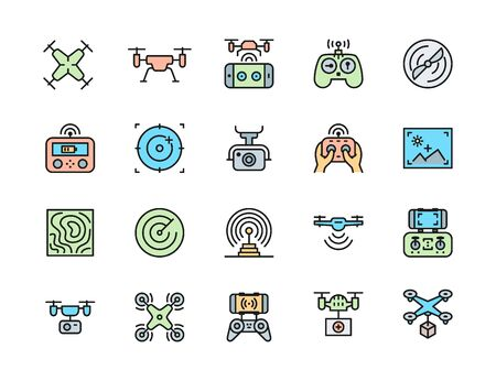 Set of Drone Color Line Icons. Remote Controller, Propeller, Camera and more.