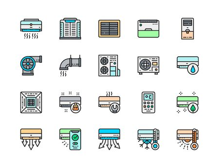 Set of Air Conditioning Color Line Icon. Multi-split System, Humidifier and more