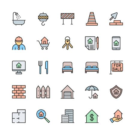 Set of Real Estate Color Line Icons. Bathroom, Traffic Cone, Barrier and more Illustration