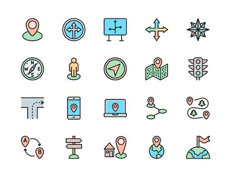 Set of Navigation Color Line Icons. Compass, Location Pin, Wind Rose and more. Illustration