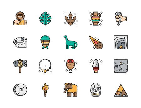 Set of Prehistoric Age Color Line Icons. Dinosaur, Meteorite, Mammoth and more.