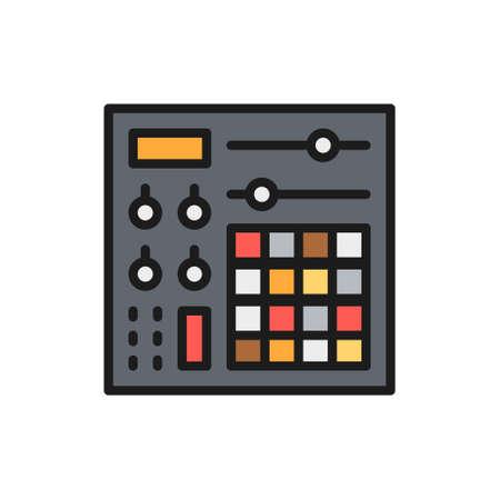 Music console, audio mixer flat color line icon.