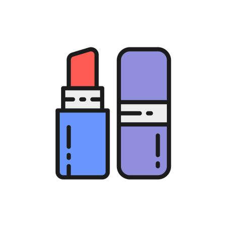 Linear lipstick in retractable case flat color line icon.