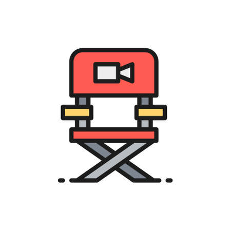 Director chair, casting, film direction, movie producing flat color line icon.