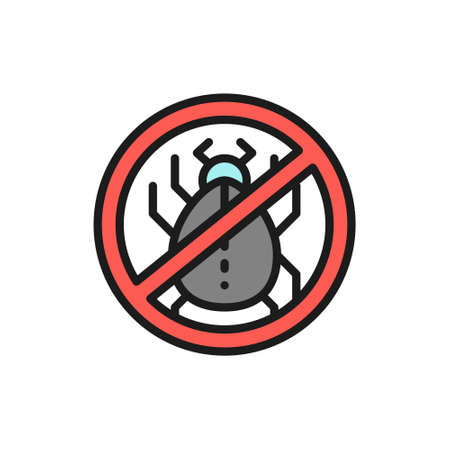 Forbidden sign with dust mites, allergy flat color line icon.