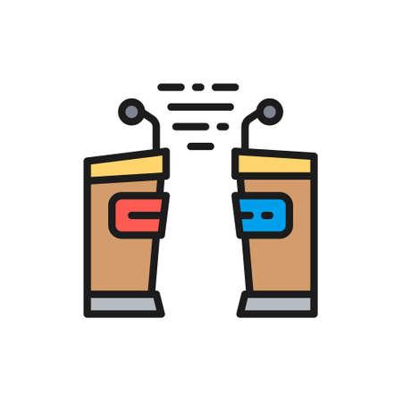 Political debates, tribune, vs flat color line icon. Иллюстрация