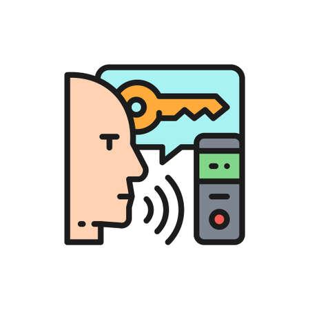 Man speaks key for voice assistance system, speech recognition color line icon. Çizim