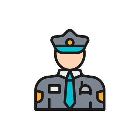 Cop, police, officer flat color line icon.