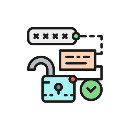 Open lock with pin code, password and unlock, cryptography flat color line icon. Çizim
