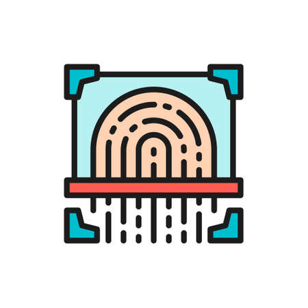 Fingerprint scan, cryptographic signature, identity flat color line icon. Çizim