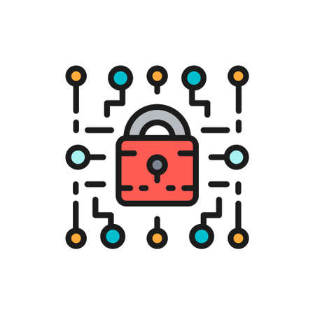 Cyber lock, web security, cryptography flat color line icon. Çizim