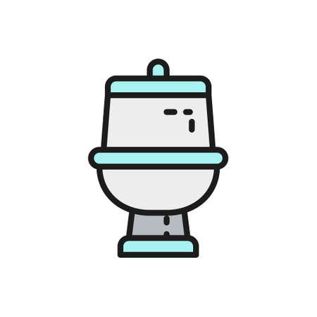 Vector toilet, bathroom flat color line icon.