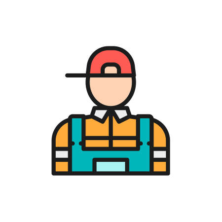 Vector plumber, mechanic flat color line icon.