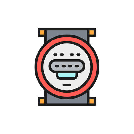 Domestic water meter flat color line icon.