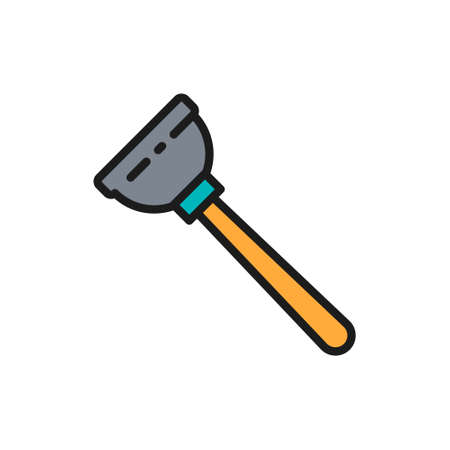 Rubber plunger, plumbing tool flat color line icon.